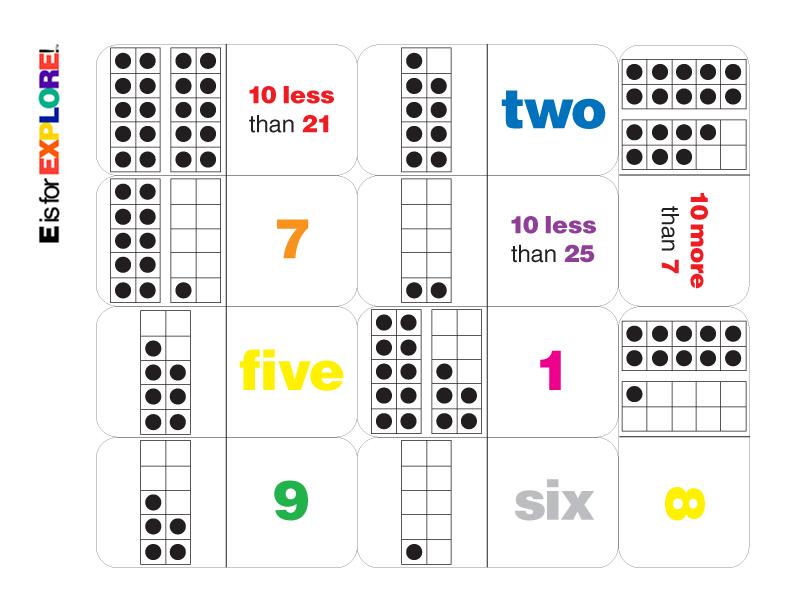 E is for Explore!: Ten Frame Dominoes