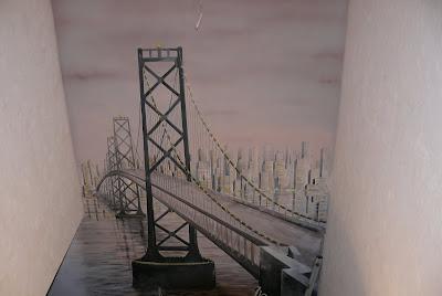 Malowanie na ścianie mostu w perspektywie, Warszawa aranżacja ściany