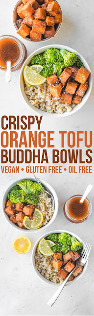 Crispy Orange Tofu Buddha Bowls (Vegan)