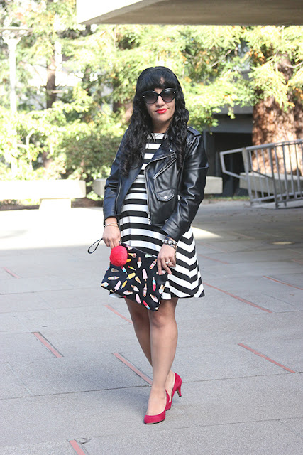 Striped Dress and Mixed Print Clutch Leather Jacket Blogger Outfit