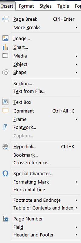 Insert menu of LibreOffice