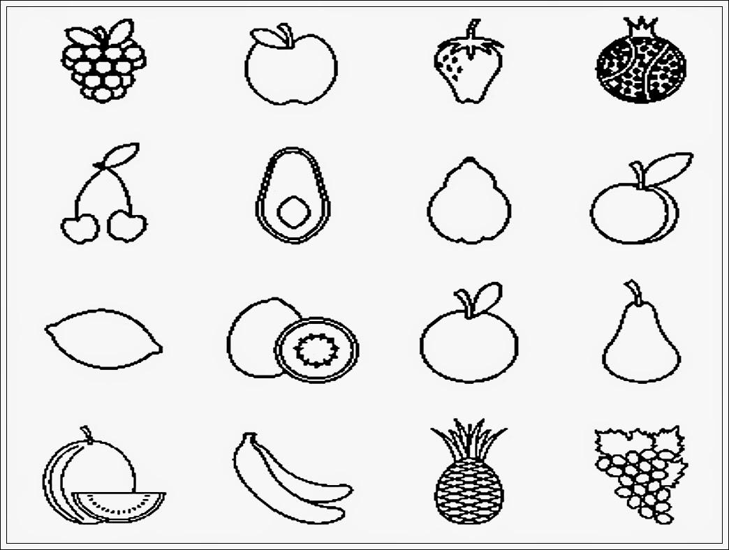 sketsa gambar buah untuk diwarnai