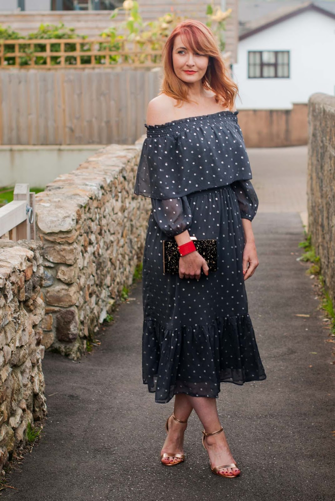 Christmas party dress: Grey off the shoulder ruffled midi dress with silver polka dots | Not Dressed As Lamb, over 40 style
