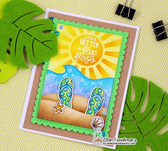 Flip Flop beach Card by Ellen Haxelmans |  Flip-Flop Life Stamp Set by Newton's Nook Designs #newtonsnook #handmade