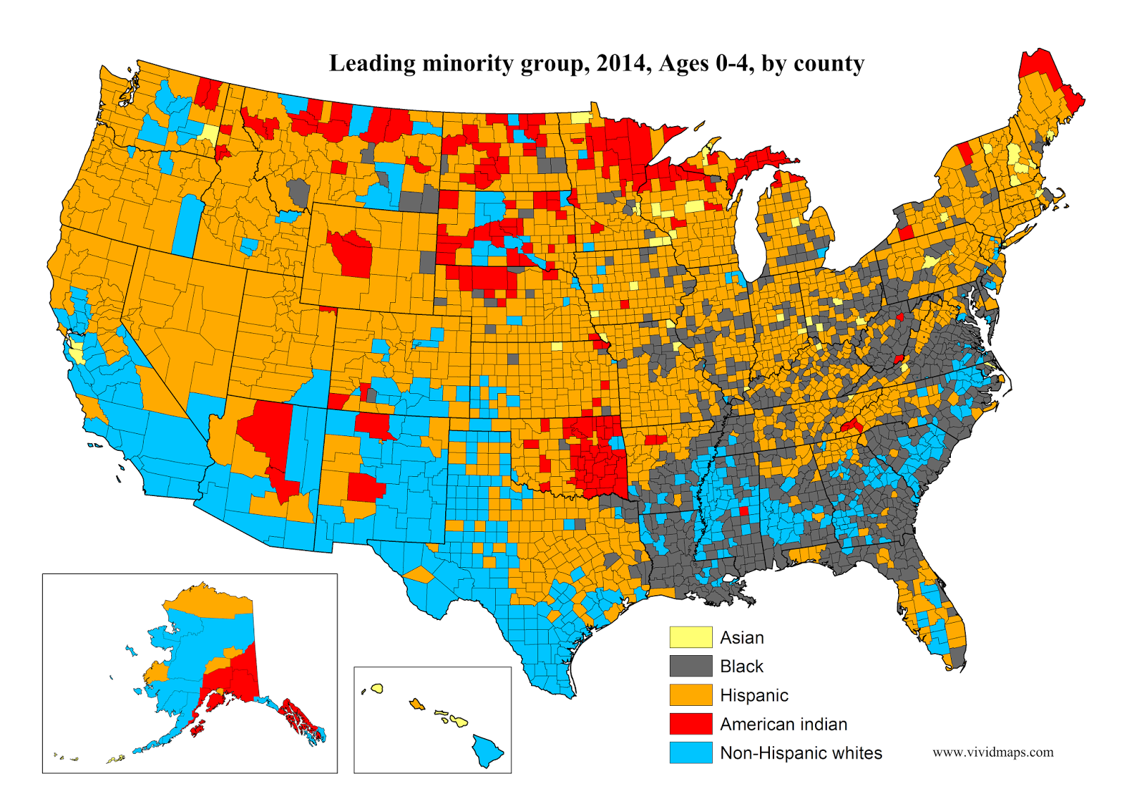 Leading minority group, Ages 0-4, by county