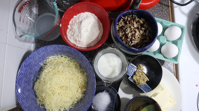 ingredients for making gougeres from Every Day Dorie by Dorie Greenspan