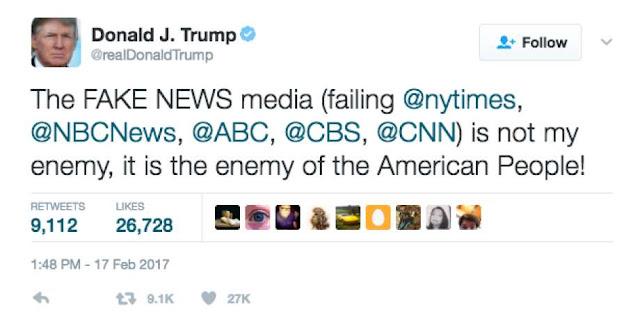 Donald Trump Calling 5 media organisations Enemy of American People