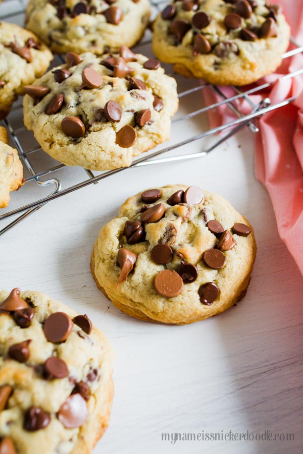 This just might be the most perfect recipe for Big and Chewy Chocolate Chip Cookies!  Grab a big glass of milk and get to baking!       mynameissnickerdoodle.com