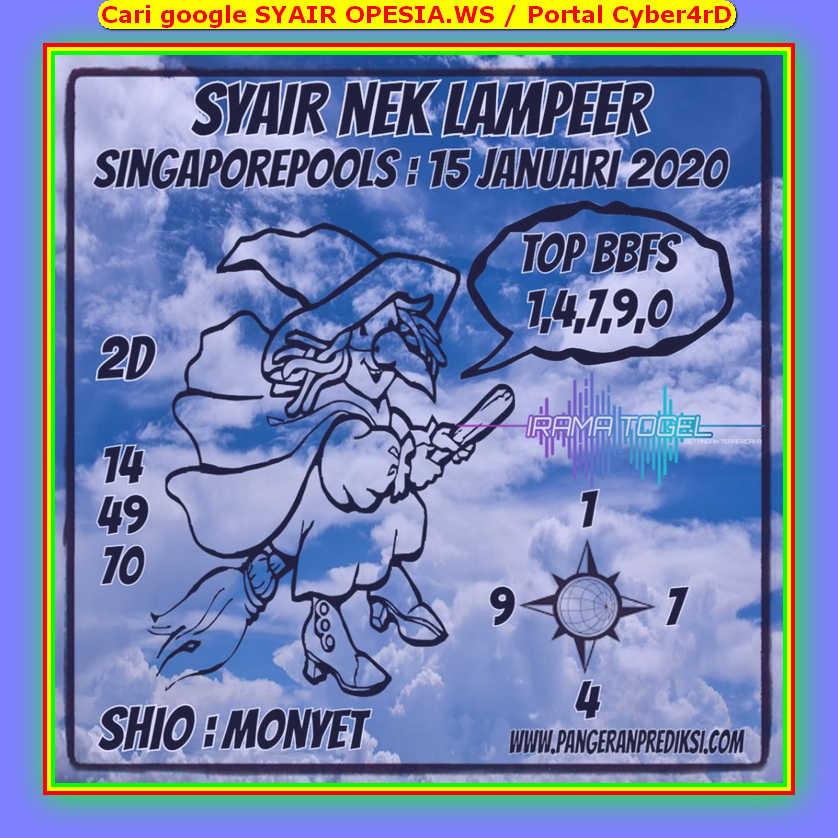 Kode syair Singapore Rabu 15 Januari 2020 107