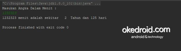 Output Hasil Contoh Code Program Konversi Menit ke Tahun dan Beberapa Hari di Java