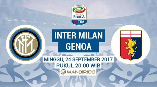 Inter Milan akan menjamu Genoa dalam lanjutan Serie A di Stadion Giuseppe Meazza Berita Terhangat Prediksi Bola : Inter Milan Vs Genoa , Minggu 24 September 2017 Pukul 20.00 WIB