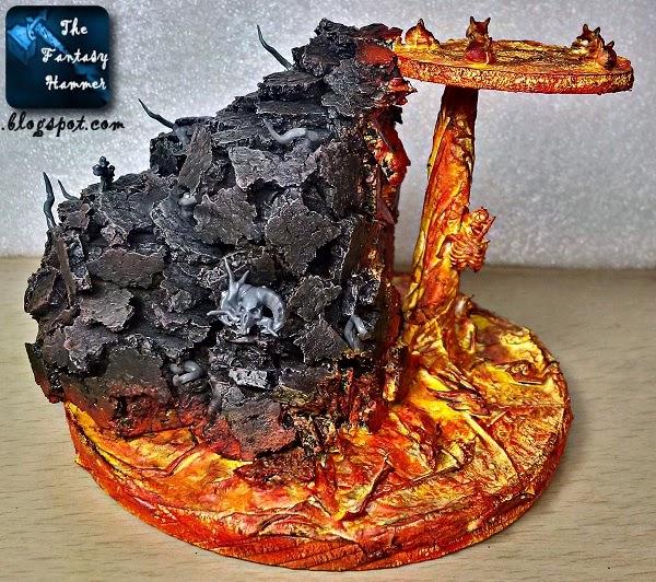 Warhammer diorama lava base WiP3