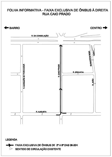Faixa exclusiva para ônibus Rua Caio Prado