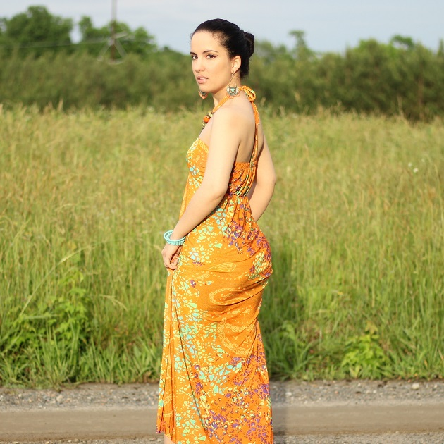Orange Print Halter Dress