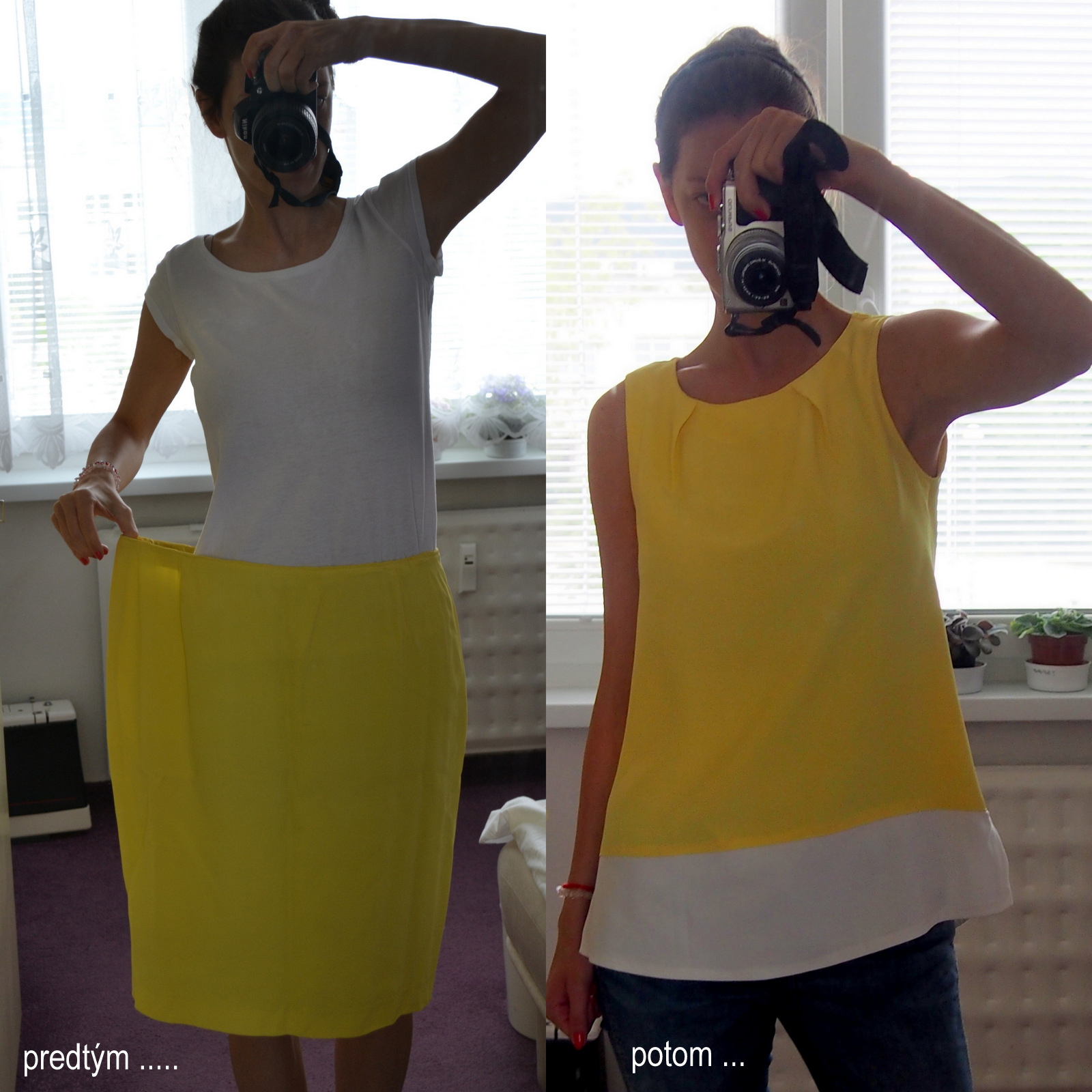 recycling / refashion: yellow top from pencil skirt