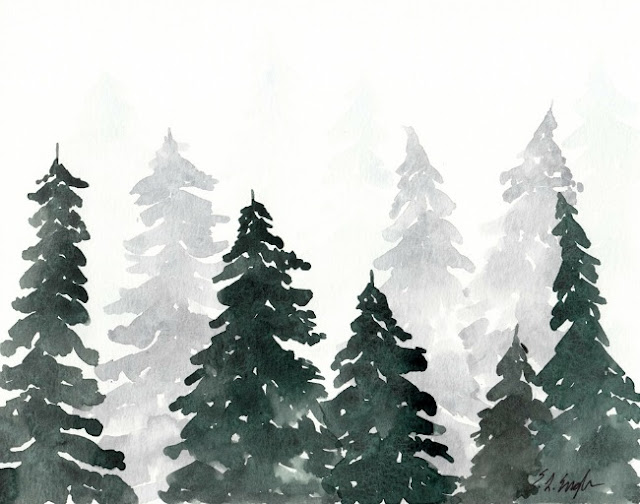 Watercolor Christmas Tree Painting