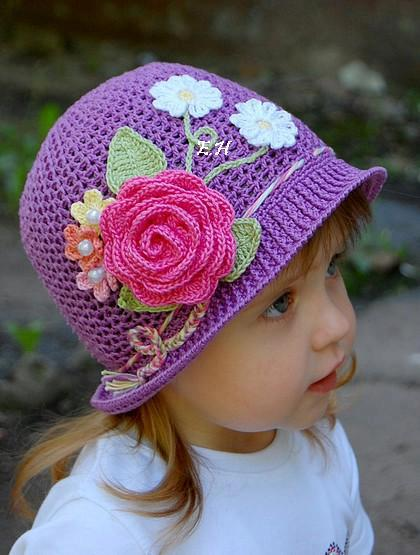 AS RECEITAS DE CROCHÊ 2  Como fazer chapéu de menina em crochê 5e7d5cba14f