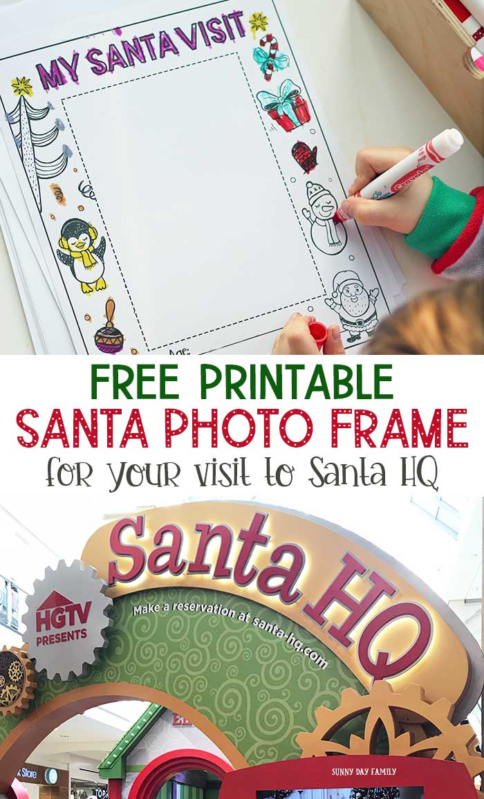 Make your visit to Santa the ultimate family fun experience at HGTV's Santa HQ. Then grab my FREE printable Santa photo frame for your kids to color. Make a perfect Christmas gift or Christmas keepsake. Capture the memories of your Santa visit with this adorable printable! #ad #santaclausiscomingtotown #christmas #instantdownload #christmasideas