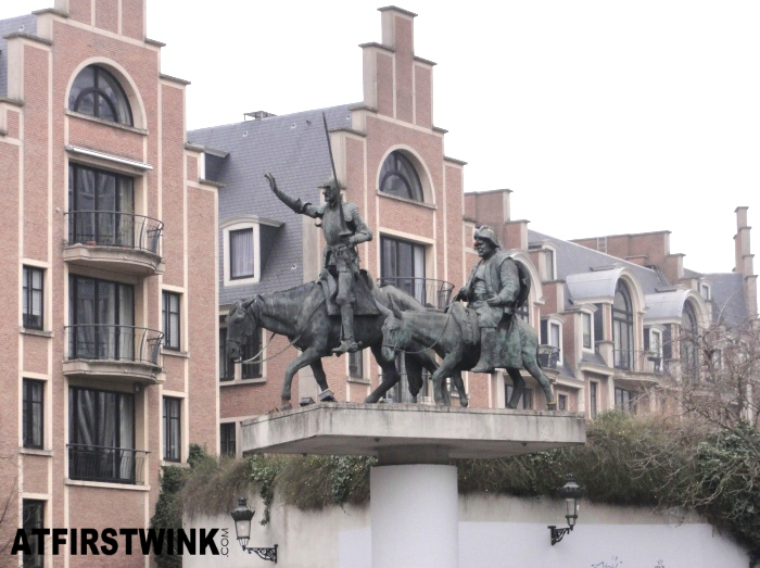 Don Quixote and Sancho Panza statue in Brussels