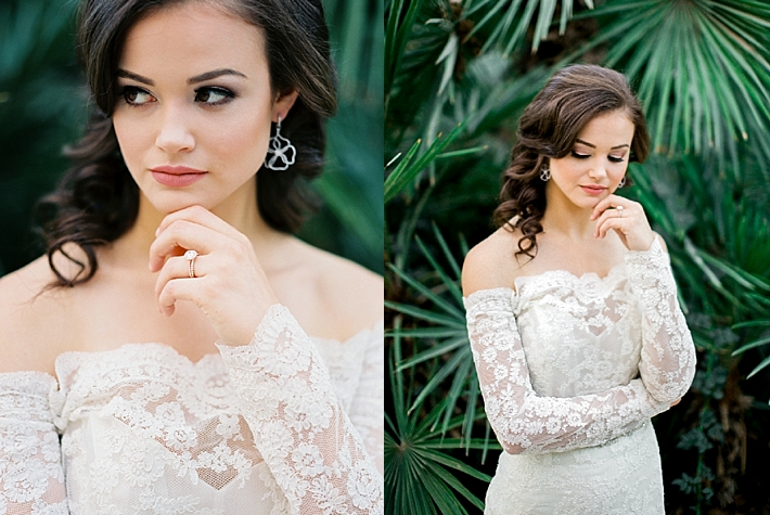 Off the shoulder lace wedding dress | Photo by Dennis Roy Coronel | See more on thesocalbride.com