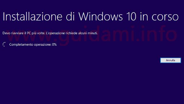 Installazione pulita di Windows 10 in corso