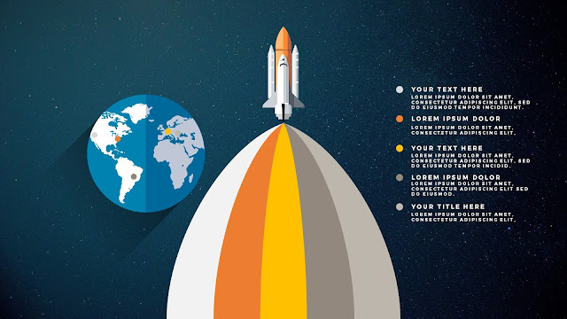 Free PowerPoint Template with Rocket Infographics and Number Option Different Type