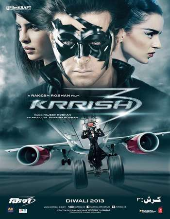 Poster Of Krrish 3 2013 Hindi 550MB BRRip 720p ESubs HEVC Watch Online Free Download
