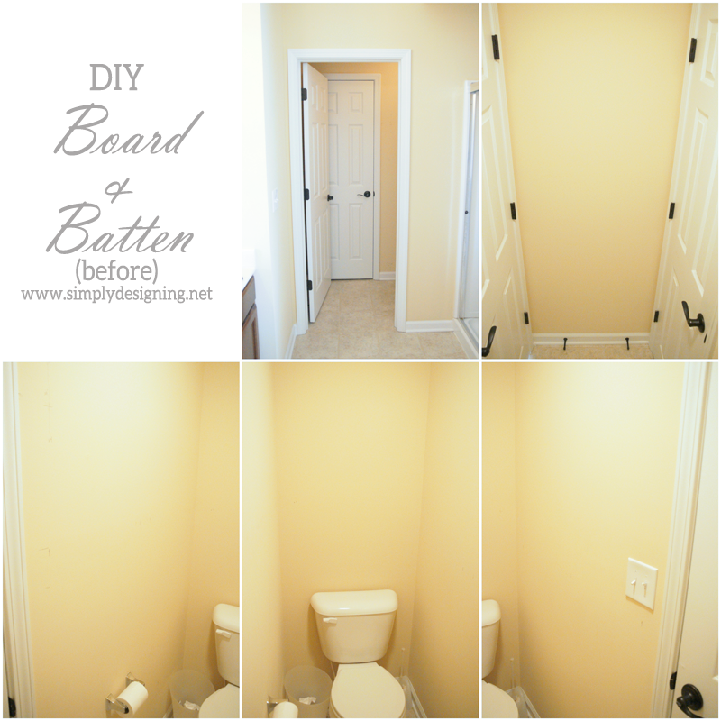 Collage of bathroom before installing Board and Batten
