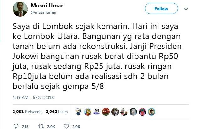 Tidak Ada Realisasi, Rektor Ini Bongkar Janji Jokowi Soal Rekonstruksi Lombok