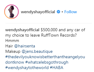 Wendy shay to leave rufftown records