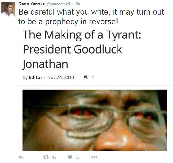 Karma? Reno Omokri reminds arrested blogger Abubakar Sidiq of 2014 GEJ article