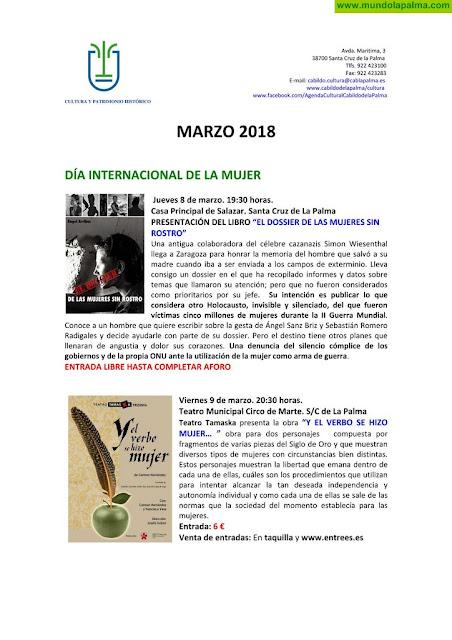 Agenda cultural del Cabildo Insular de La Palma para marzo de 2018