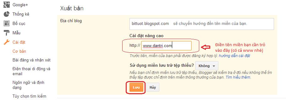 Hướng dẫn cách trỏ tên miền riêng cho Blogspot - Blogger