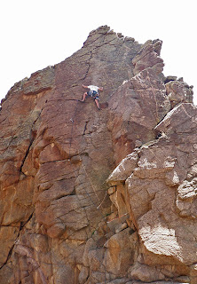 Climbing at the Sun Tower in Unaweep Canyon