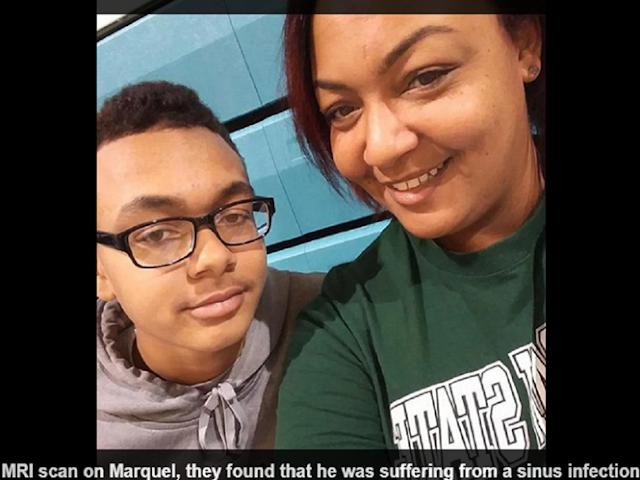Cậu bé Marquel Brumley, 13 tuổi, và mẹ là bà Cameo Kennedy