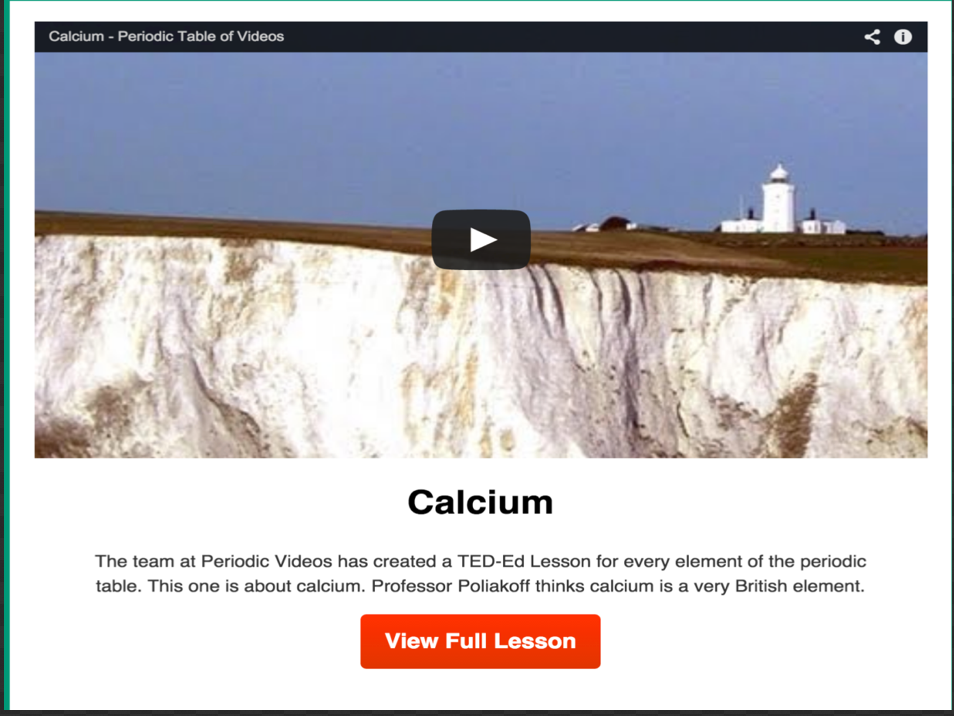 Ted ed new interactive periodic table with video lessons for every here is a sample of a video lesson on ted ed periodic table urtaz Gallery