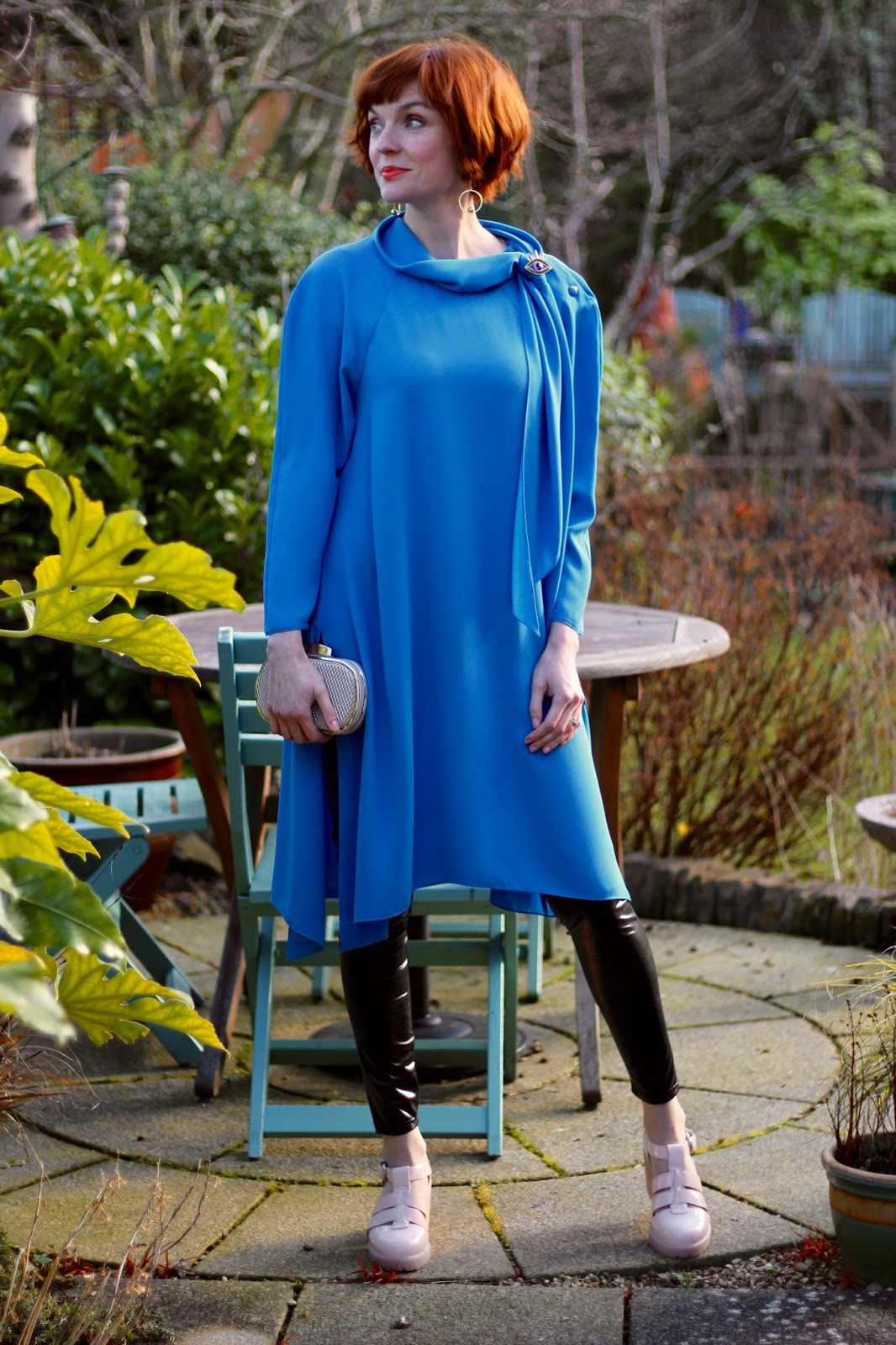 Bright Blue 1980's Vintage Dress with Vinyl Leggings & Chunky Vagabond Shoes!