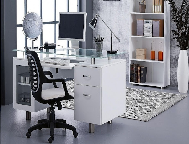 best white modern home office furniture layout design ideas pictures