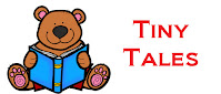 text stating Tiny Tales and image of a bear holding a book
