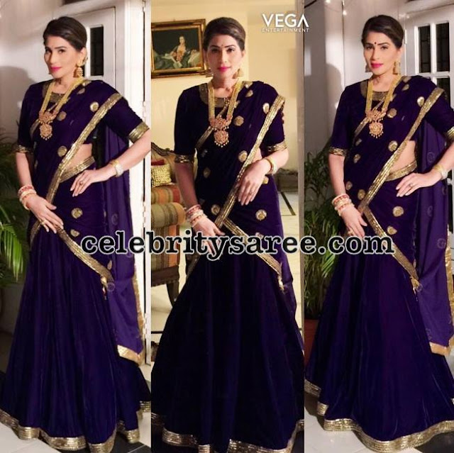 Shreedevi Chowdary Purple Half Saree