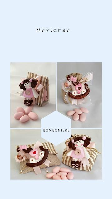 bomboniere gesso bimba cavalluccio rosa