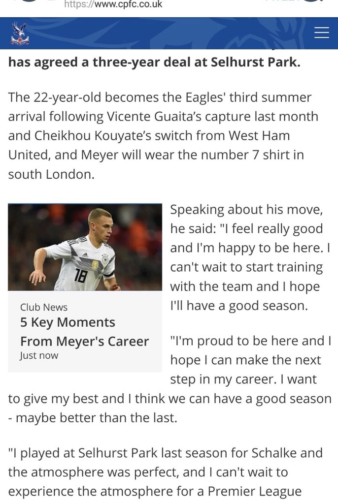 Crystal Palace use an image of Joshua Kimmich in a section about new signing Max Meyer