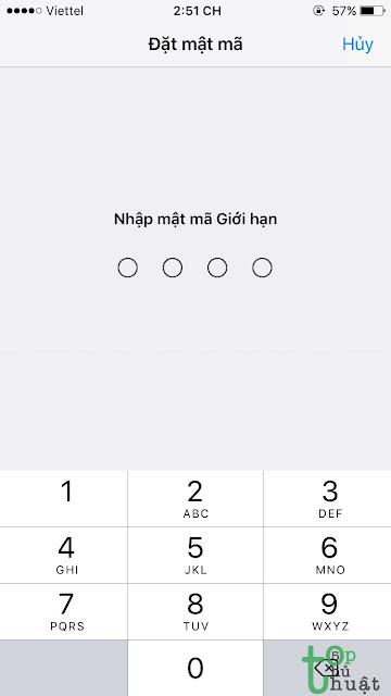 Đặt mật khẩu giới hạn iPhone