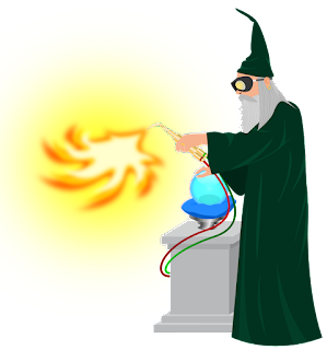 A wizard lays a hand on a crystal ball while firing off a blow torch.