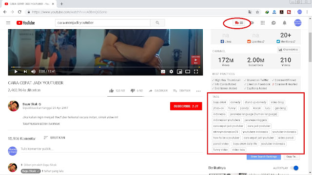 Sebuah tools dari extensi Google Chrome, yang dapat menganalisis kata kunci untuk judul dan tag video youtube kalian