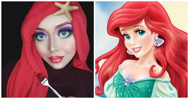 Female Completely Transforms Into Disney People Only Using Cosmetic And Her Hijab