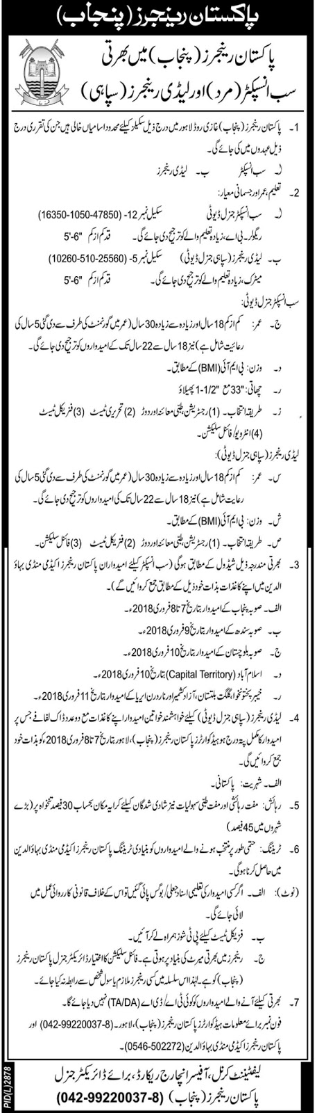 Pakistan Rangers Announced  Jobs Jan 2018
