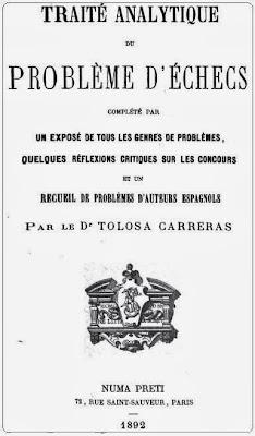 Portada del Tratado analítico de los problemas de ajedrez de José Tolosa