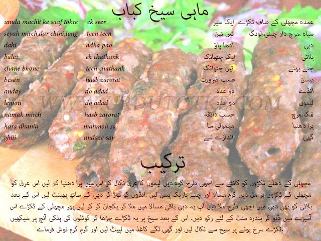 shish kebab recipe in hindi and urdu