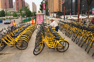 parking de velos en partage MOBIKE en chine Pekin